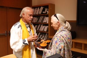 Patrick McCollum and Jane Goodall with the World Peace Violin